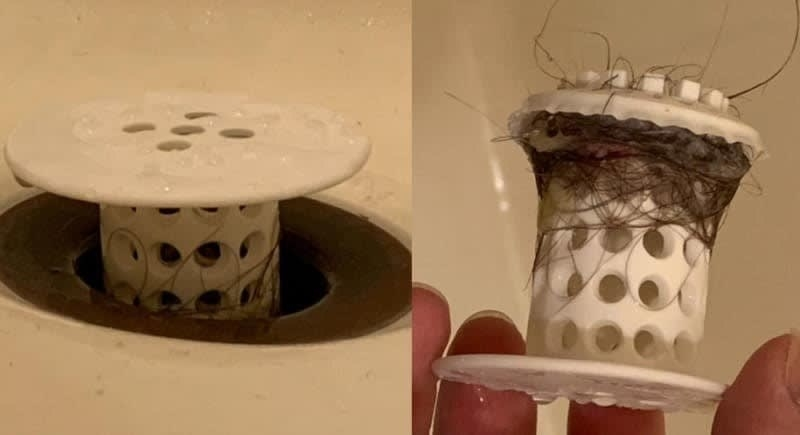 On the left, a picture of the TubShroom inside of a drain, and on the right, the TubShroom covered with hair