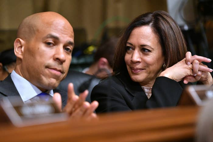 Sens. Booker and Harris who support decriminalization for sex workers.