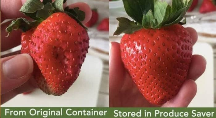 On the left, a before photo of BuzzFeed Editor Natalie Brown holding a mushy strawberry stored in a regular container, and on the right, Natalie Brown holding a fresh strawberry stored in the produce-saving container