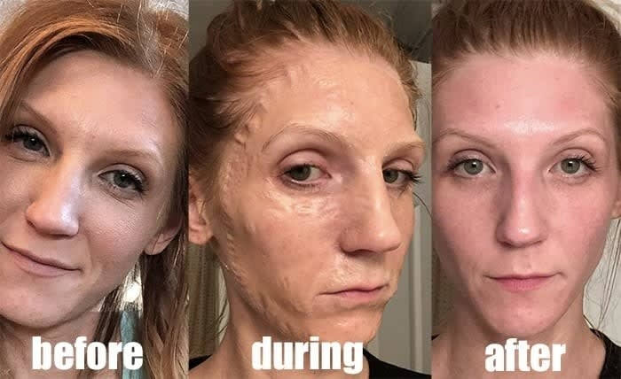 A review before, during, and, after photo showing how the mask makes them look zombie-like during use, and brightens their skin after use