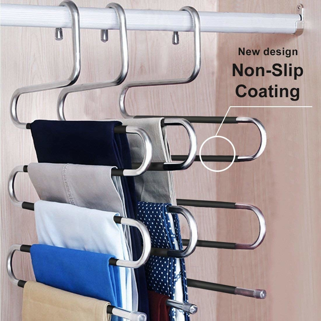 The hangers with pants, with non-slip coating to keep them on securely