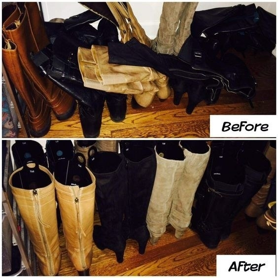 A reviewer's before/after of several pairs of boots, with the shafts messily folded over each other before, and the same boots standing tall and neat with the inserts in them