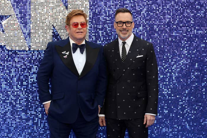 Elton John and David Furnish attend the Rocketman UK premiere in London.