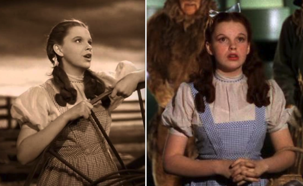 Judy Garland in sepia and color scenes from the movie
