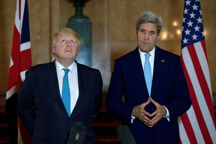 Boris Johnson and John Kerry give a joint press conference in London in October 2016.