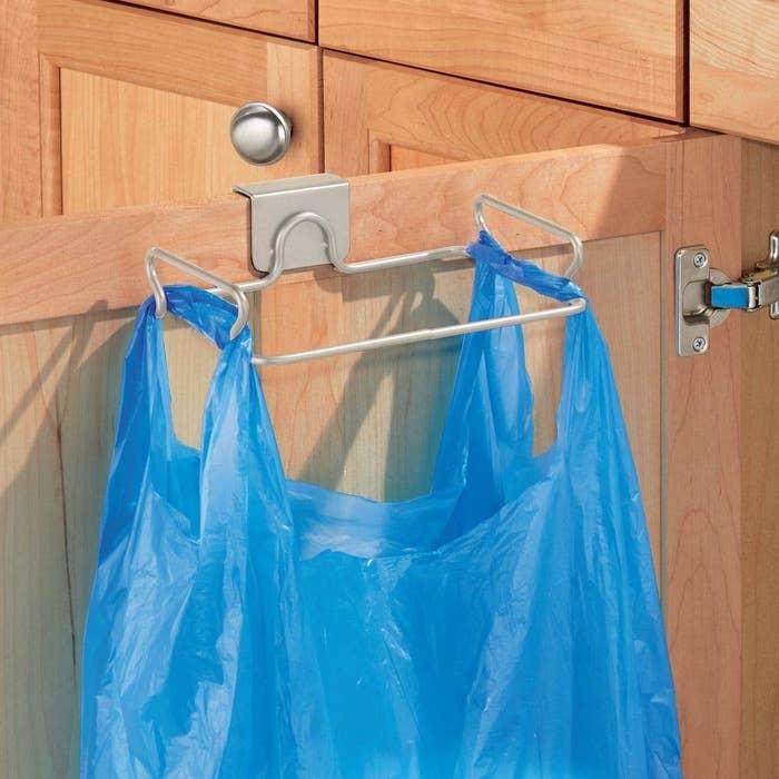 Bag hanging on holder rack