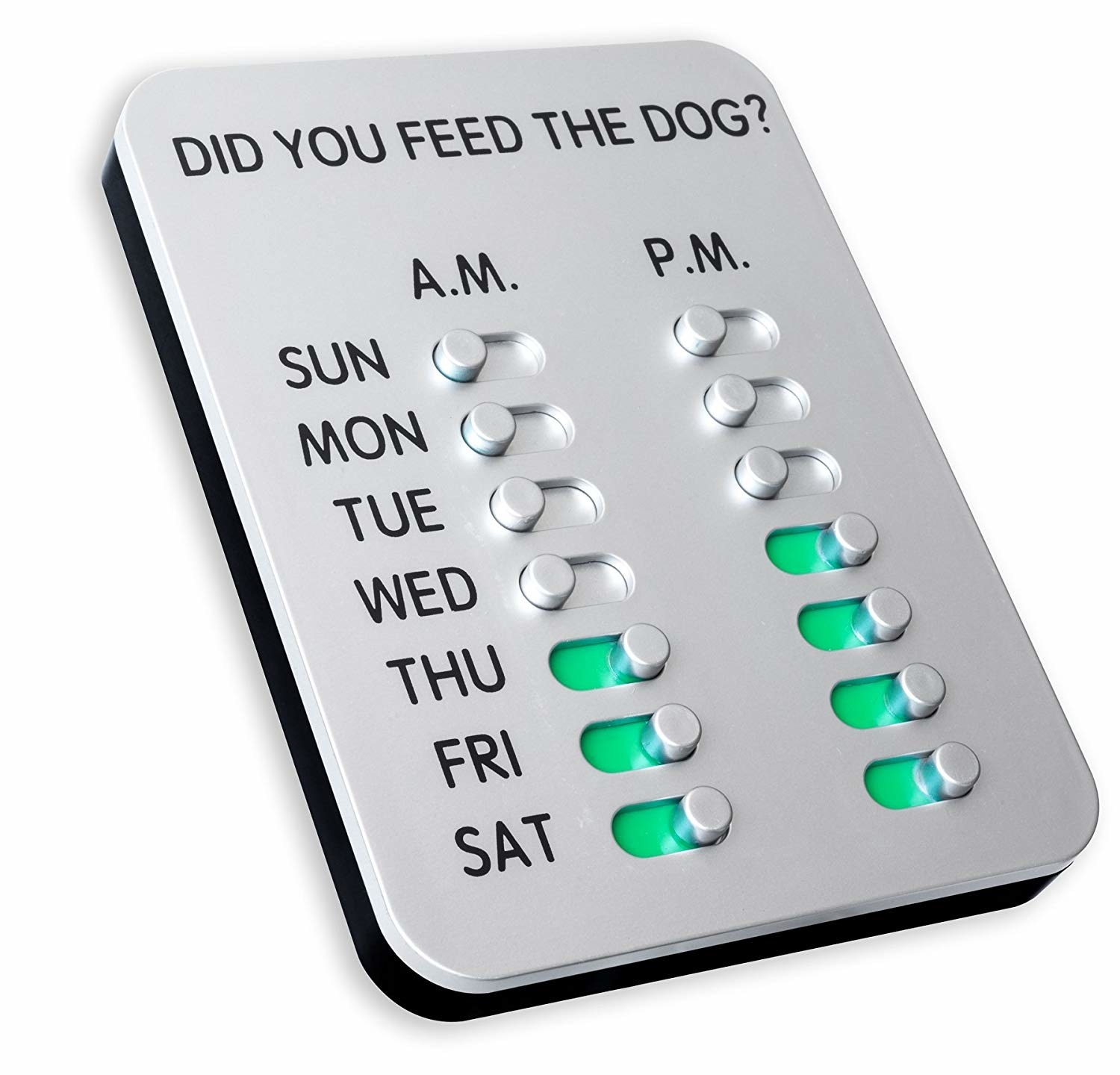 a device with two sliders for each day of the week. when pushed, they turn green