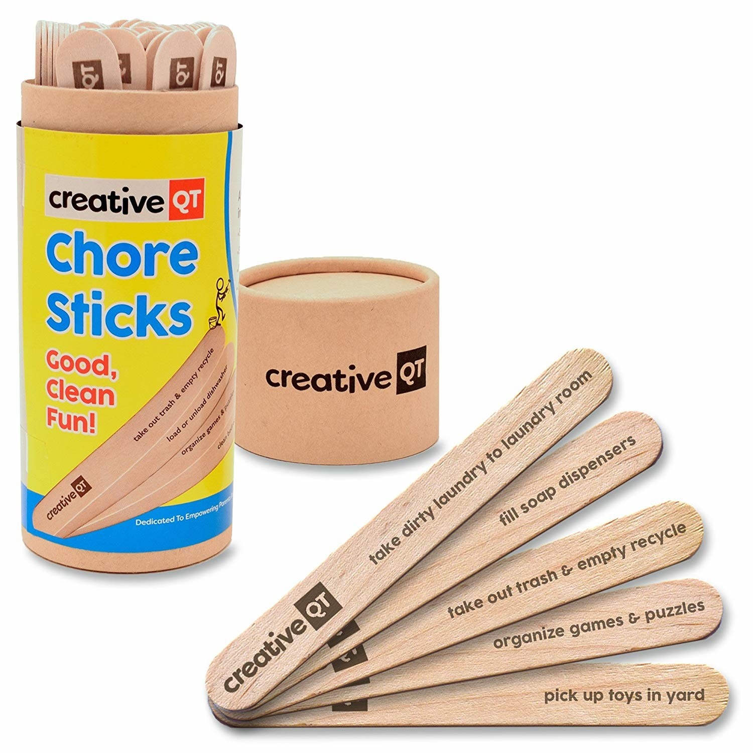 sticks that say things like take dirty laundry to the laundry room and organize games and puzzles