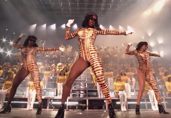 Three of Beyoncé's hip-hop majorette dancers in Homecoming.