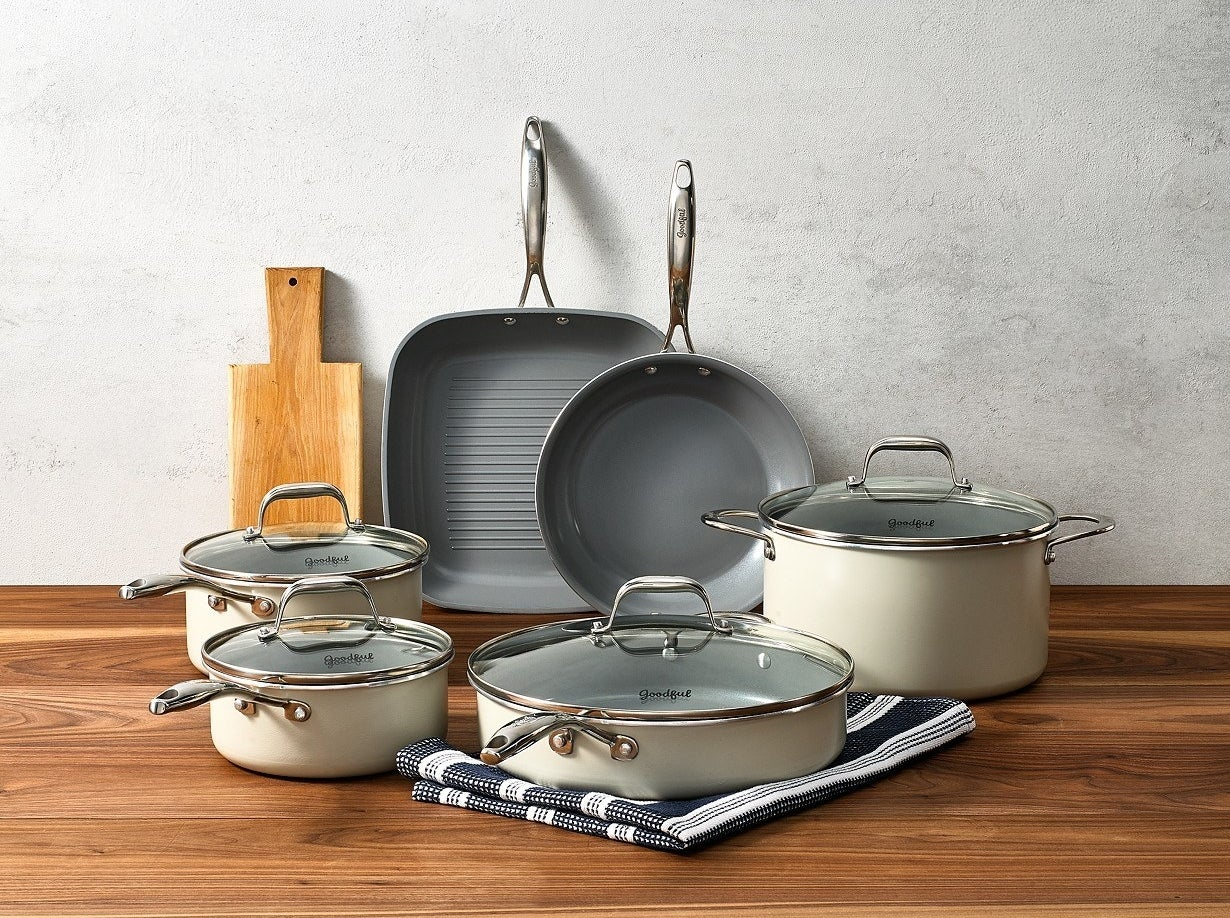 """I recently purchased this for my grandma (who isn't a college grad lol but is somewhat of a cookware connoisseur) and she absolutely loves it. This 10-piece set includes a 9.5"""" fry pan, a two-quart saucepan with lid, an 11"""" grill pan, a three-quart saucepan with lid, a four-quart jumbo cooker with lid, and a six-quart Dutch oven with lid. Everything is PFOA-free, PTFE-free, and dishwasher-safe. Non-stick cookware is generally easier to use than stainless steel because even if things go awry, all the evidence will wash right off!Get it from BuzzFeed's Goodful line, exclusively at Macy's for $119.99."""