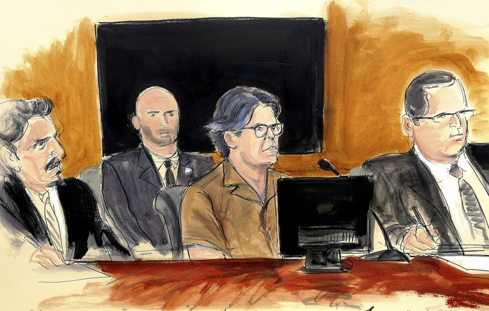 A courtroom sketch of Keith Raniere, second from right, on April 13.