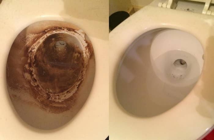 on the left a toilet bowl caked with brown crud, on the right the same toilet cleaned and white