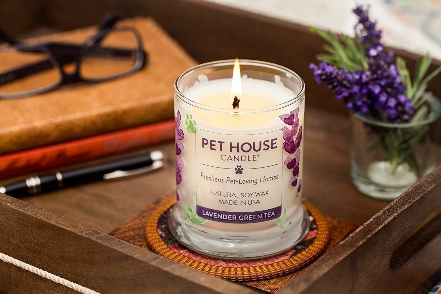 the candle in a lavender green tea scent