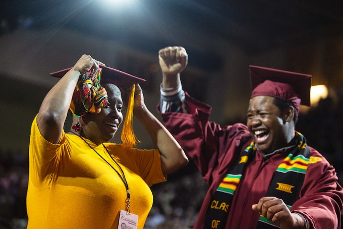A Mom And Her Son Had Graduation Ceremonies On The Same Day. So One University Surprised The Mom After She Skipped Hers.