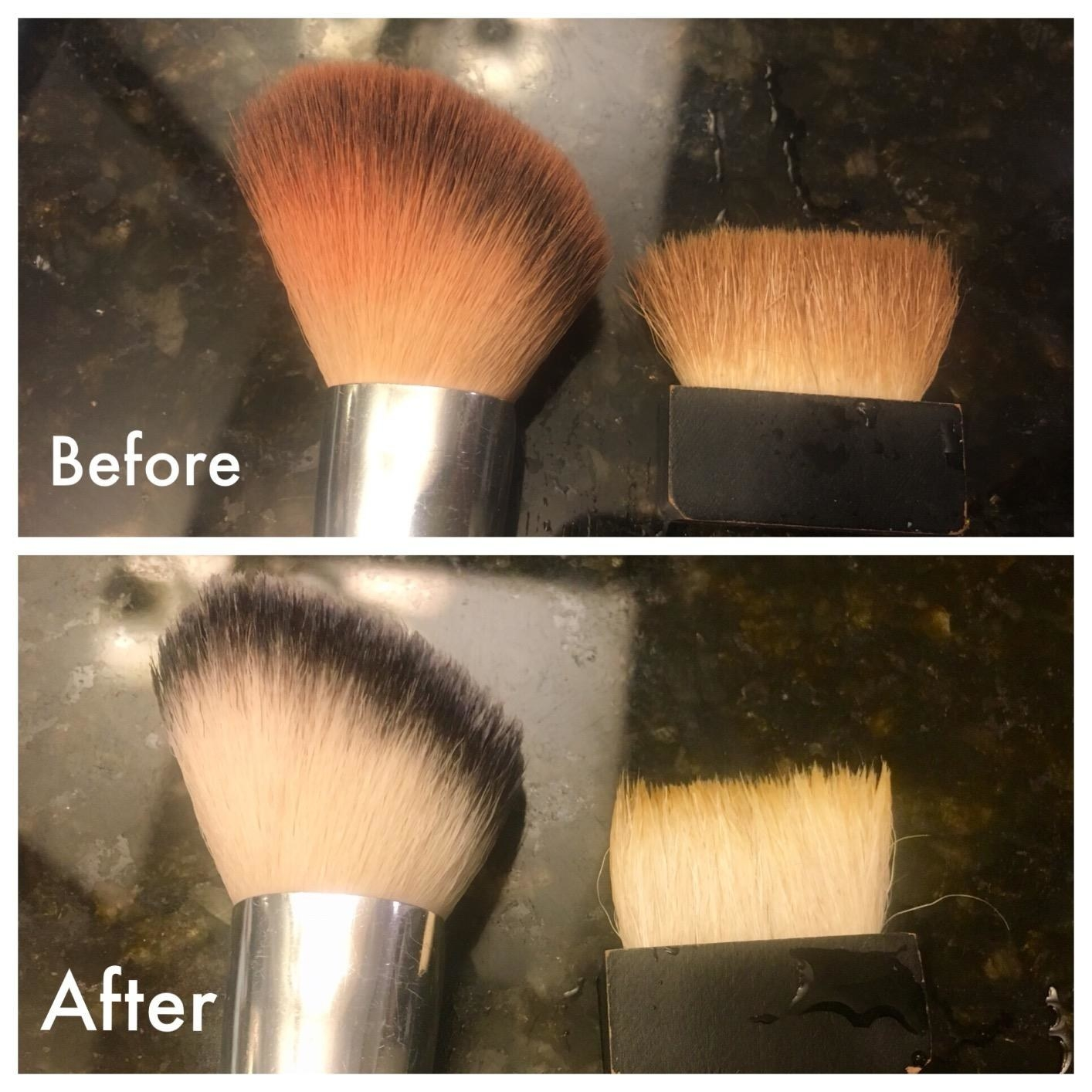 "on top a reviewer's makeup brushed stained with foundation labeled ""before"", on bottom the same brushes looking cleaner labeled ""after"""
