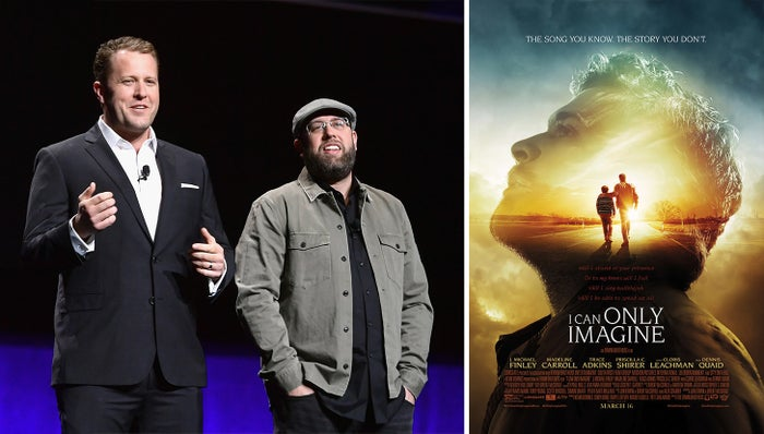 Jon and Andrew Erwin at CinemaCon 2019; the movie poster for I Can Only Imagine.
