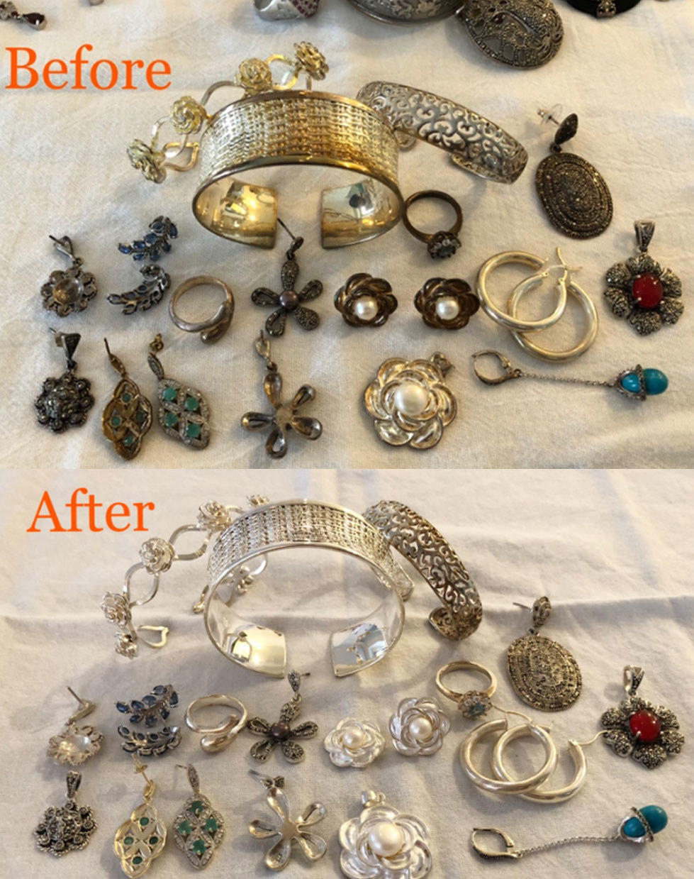 A side by side before and after shot. The before photo has darkened and worn jewelry full of rust, and the after has the same jewelry, which now looks shiny, sparkly, and new