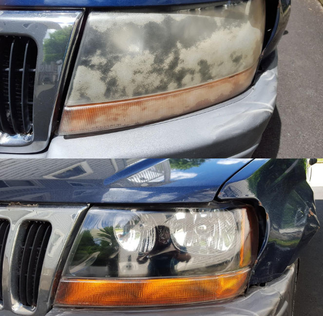A before photo of reviewer's car headlights that are worn and clouded over and an after photo of the same headlights looking clean and brand new