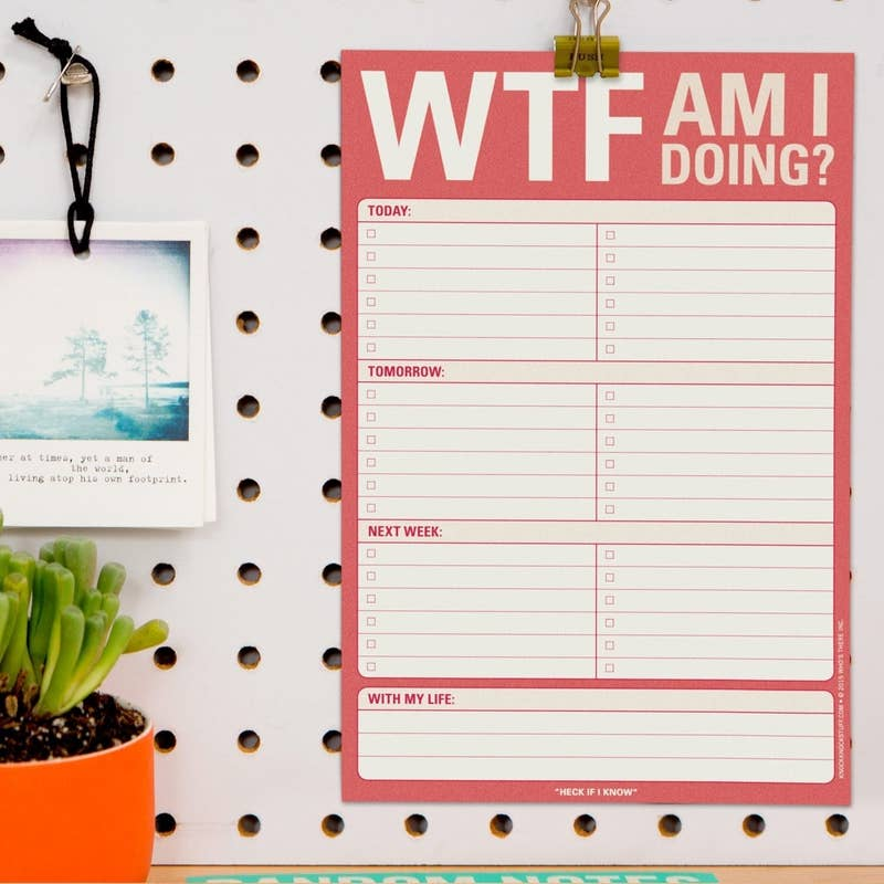 "You can hang it up on your cubicle wall so it's easier to ~organize~ your week!Promising review: ""These are perfect for me to jot down to-do items as I think of them. Digital to-do lists are great, but they're easy to minimize or get hidden behind other windows I have open. I keep this pad on my desk, kind of in my way, so the list is always present and I can add or check things off as I go."" —BWallGet it from Amazon for $9.15 (available in three styles)."