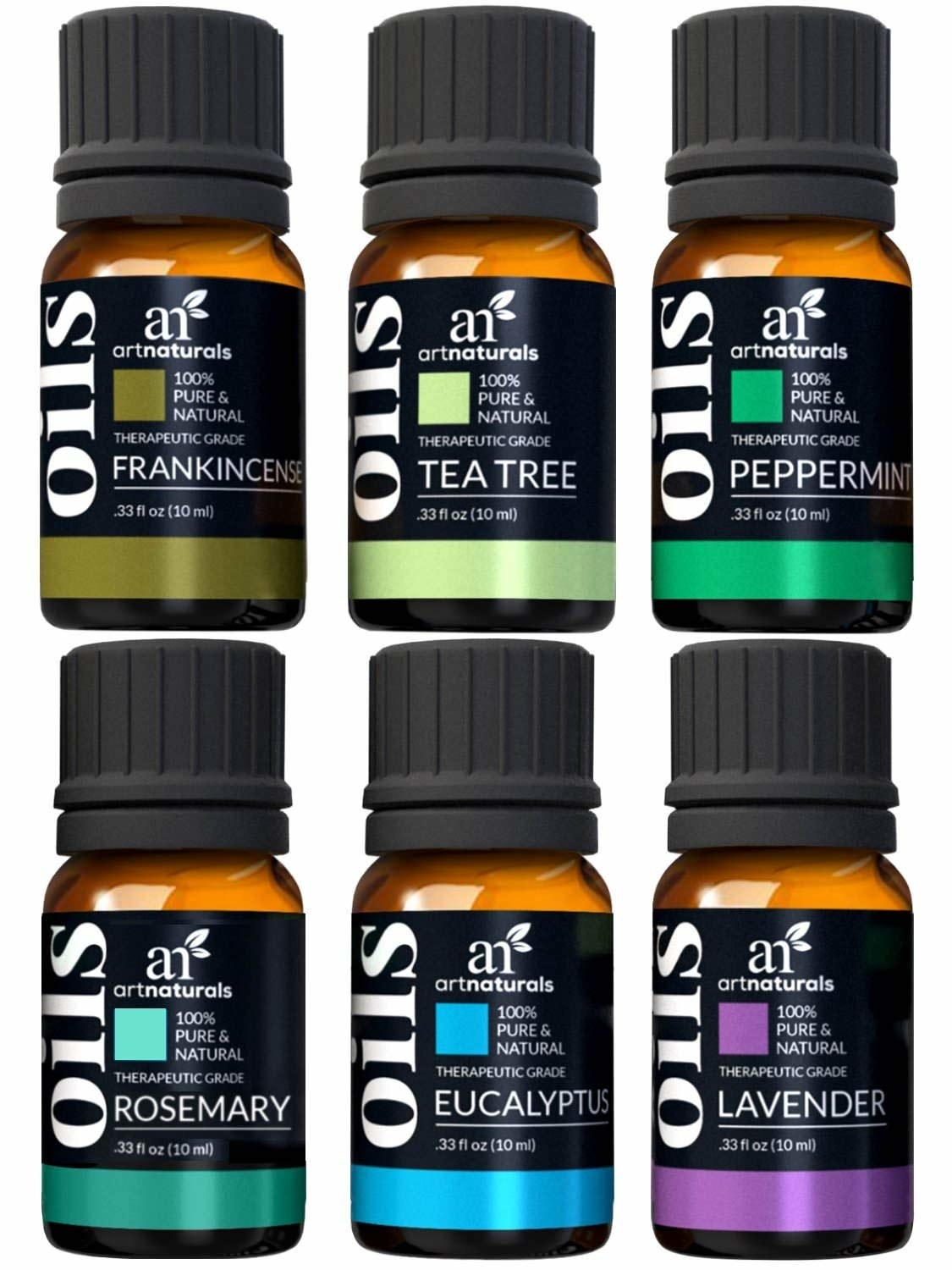 six bottles of different scented oils