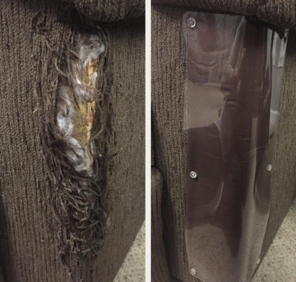 A couch leg that's all scratched up next to an image of the same couch that now has a scratch guard and is free of rips