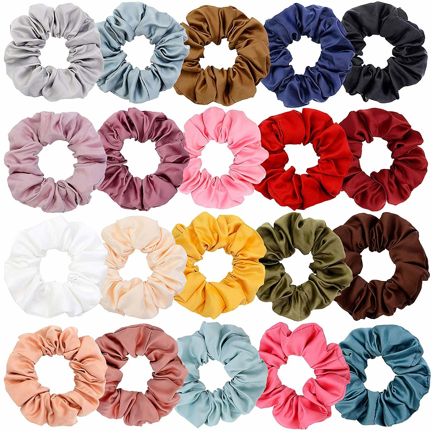 20 scrunchies lined up in different colors