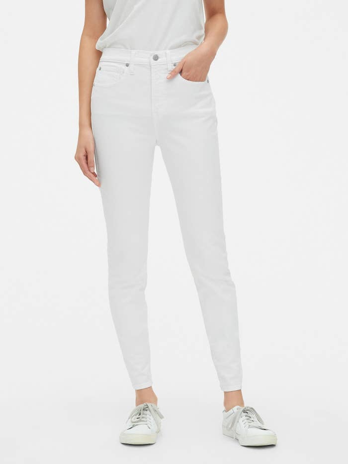 884290b73d Tall white high-rise jeans to wear to a picnic or even the Hamptons this  summer.