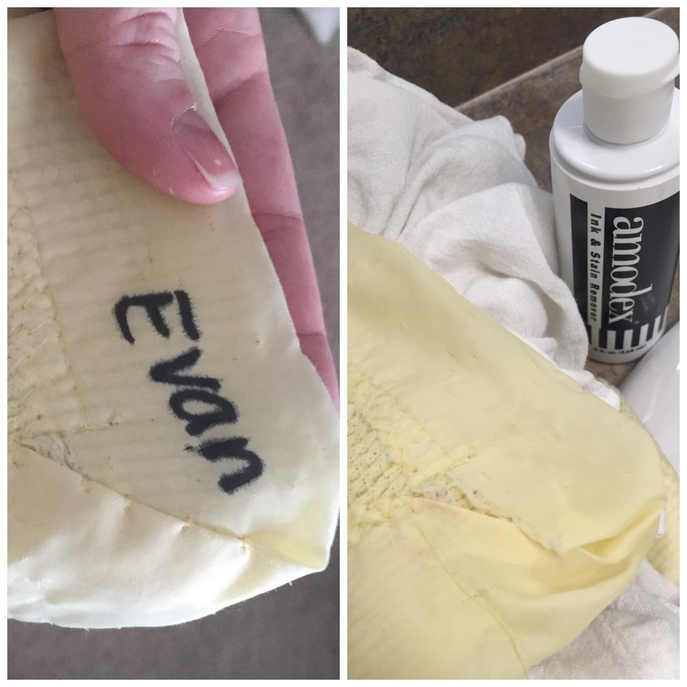 A reviewer photo of fabric with a name written in marker that was removed using the ink remover