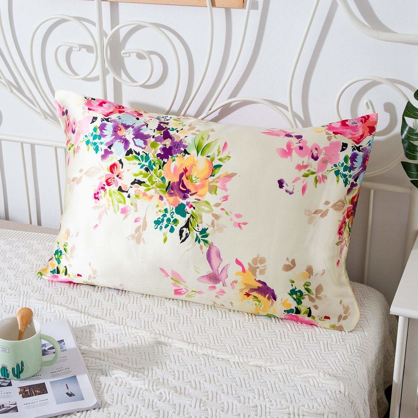 a floral silk pillow case