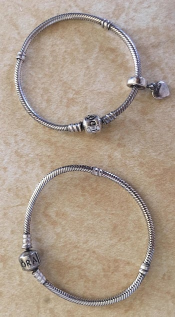 The same bracelets looking brighter and restored to their silver color