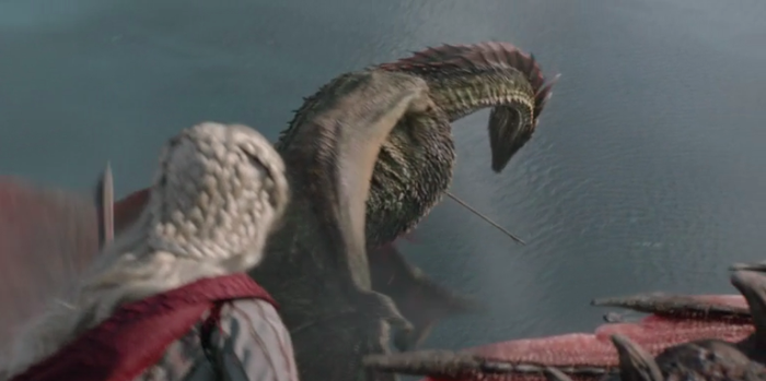 In a surprise attack from Euron's fleet, Rhaegal was hit in the chest and neck by flying spears. Back in Season 8, Episode 3, Viserion (who was turned into a wight dragon in Season 7) was killed conclusively during the Battle of Winterfell. So, we only got Drogon left!