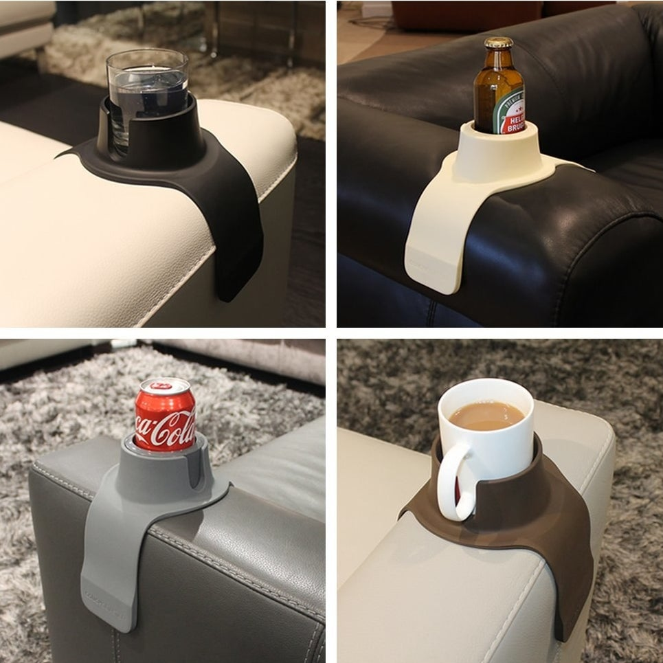 the cup holder being used to hold four different drinks