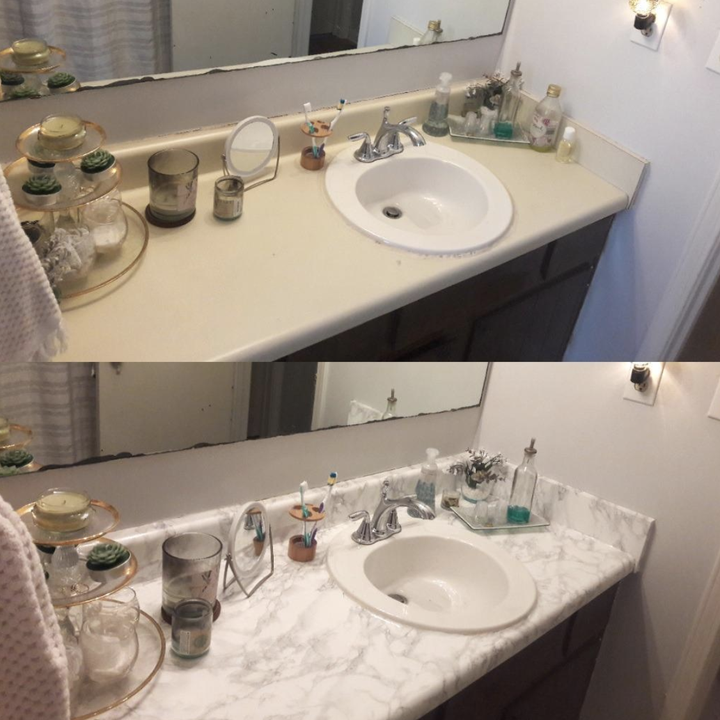 Two pictures of a bathroom counter—one without the film and one with