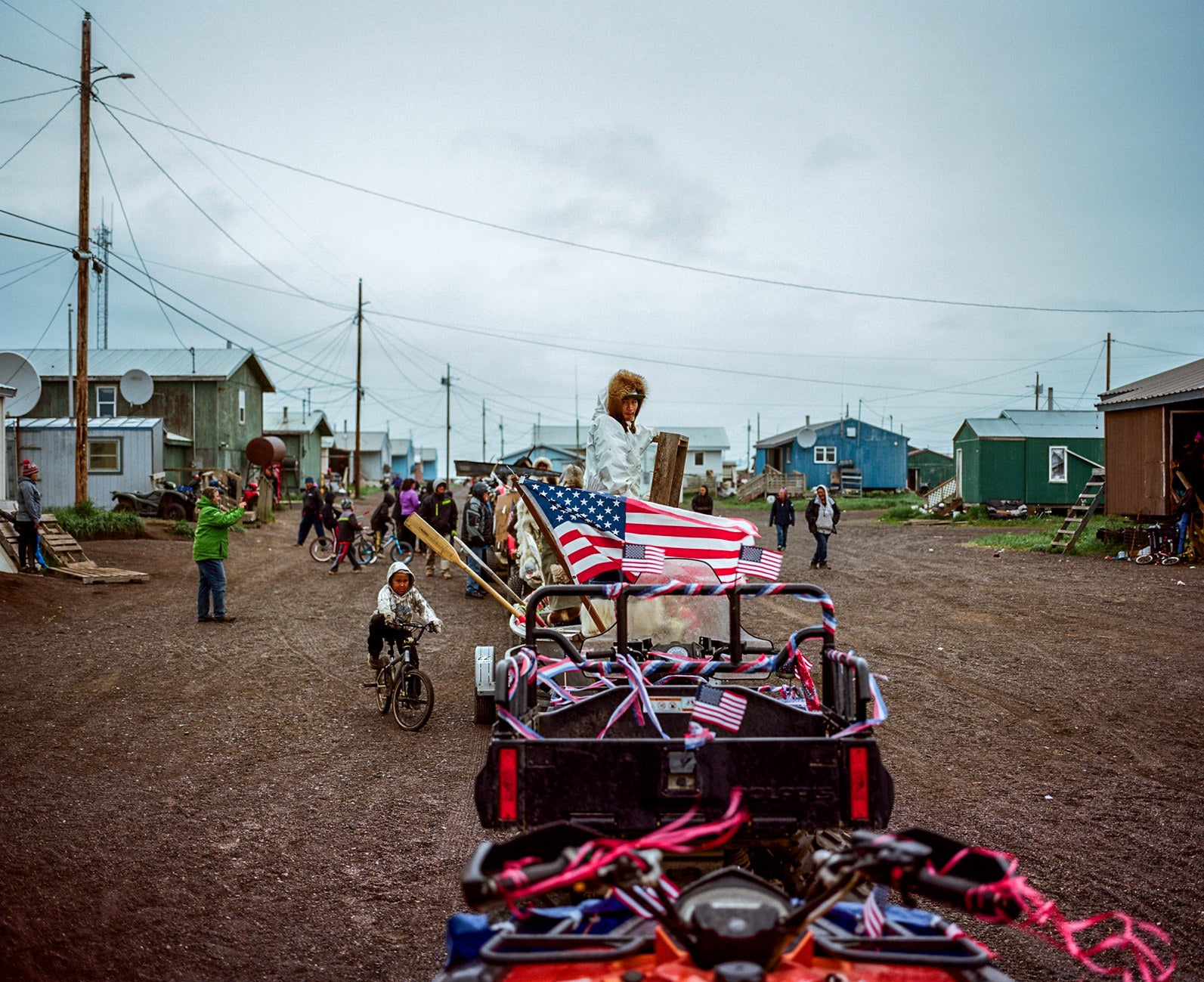 The community of Kivalina, Alaska, participates in the Honda Float Parade on the Fourth of July. The village is not accessible by road, and so during the summer months, the primary mode of transit is four-wheelers and boat, and in the winter, snow machines.