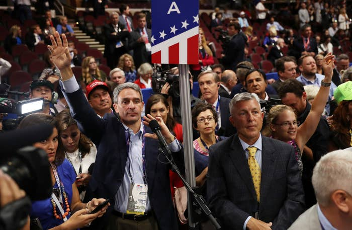 Ken Cuccinelli (hand raised) at the Republican National Convention in 2016.
