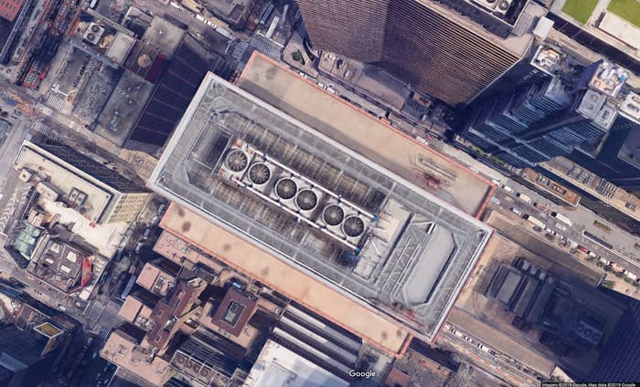 A screenshot from Google Maps showing the roof of the building at 787 Seventh Ave.