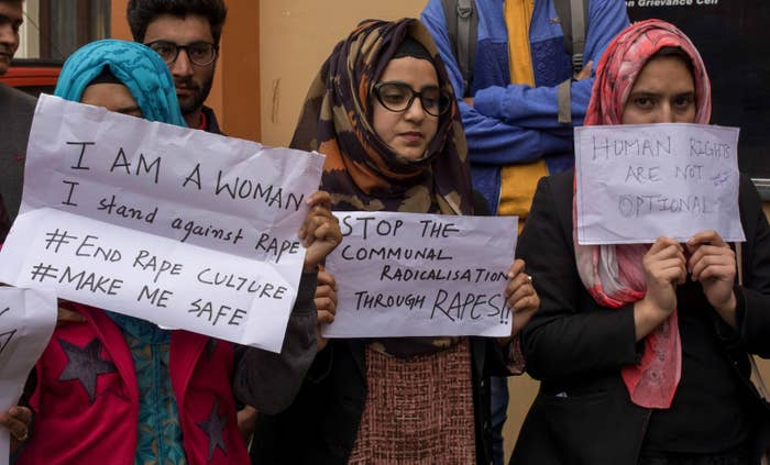 Students in Kashmir join a demonstration in April 2018 against the rape and murder of an 8-year-old girl.