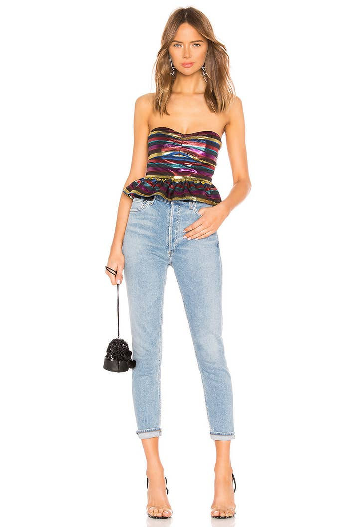 """Reviewers recommend sizing down in these jeans.Promising review: """"Love! Perfect high waist, nice slim leg but not skinny, stretchy as well, so really comfy!"""" —LucyPrice: $158 (available in sizes 23–32)"""