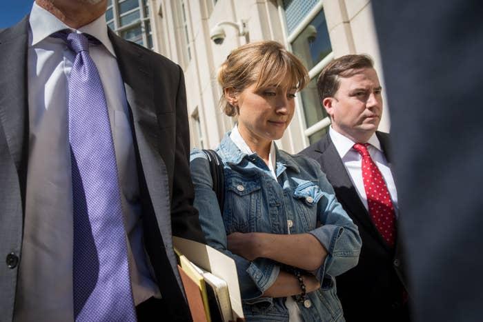Allison Mack leaving Brooklyn federal court.