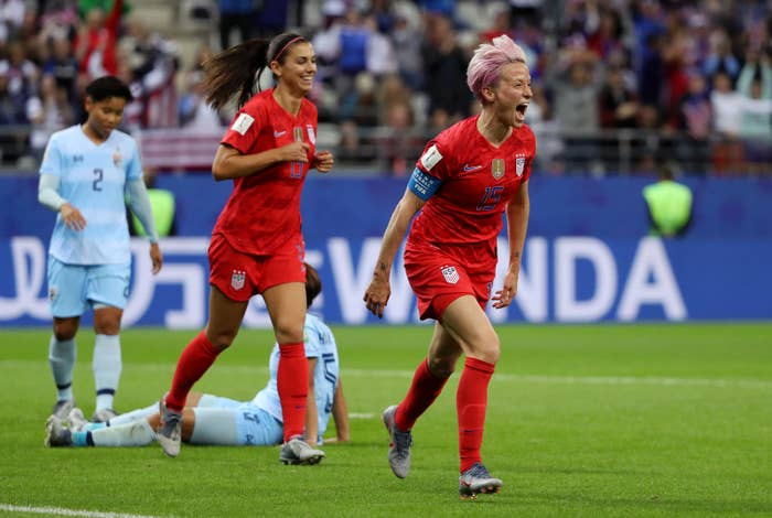 Megan Rapinoe, a forward for the US women's soccer team, celebrates after scoring the team's ninth goal in its opening match of the 2019 World Cup.