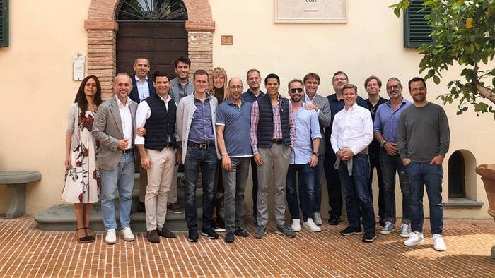 BuzzFeed News saved this doctored image from a GQ story on some tech entrepreneurs' trip to visit Italian designer Brunello Cucinelli, which the publication has since removed. It still appears on Cucinelli's Instagram.