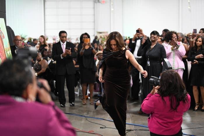 Kamala Harris appearing at the Pink Ice Gala, hosted by Alpha Kappa Alpha Sorority in Columbia, South Carolina, on Jan. 25.