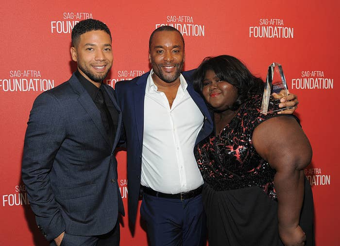Lee Daniels (center) with Empire stars Jussie Smollett and Gabourey Sidibe in 2015.