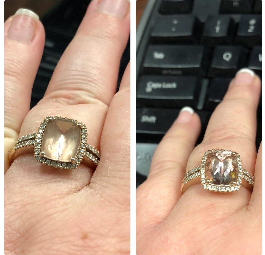 left: blurry gem ring right: gem looking shiny and bright
