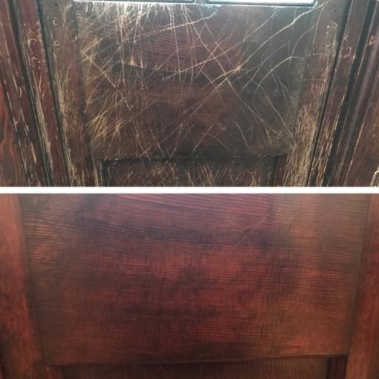 Reviewer's before-and-after image after using the wood polish to fill in scratches and marks on a wood surface