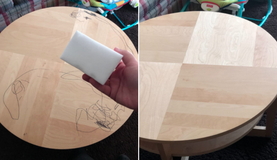 Reviewer's before-and-after image after using the cleaning sponges to remove marker scribbles from their table