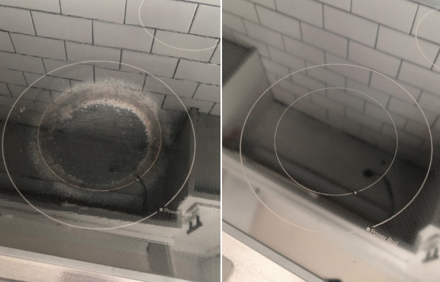 Reviewer's before-and-after image after using the cleaner to remove all the stains from their cooktop
