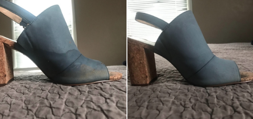 Reviewer's before-and-after image after using brush to remove stains from their suede heels