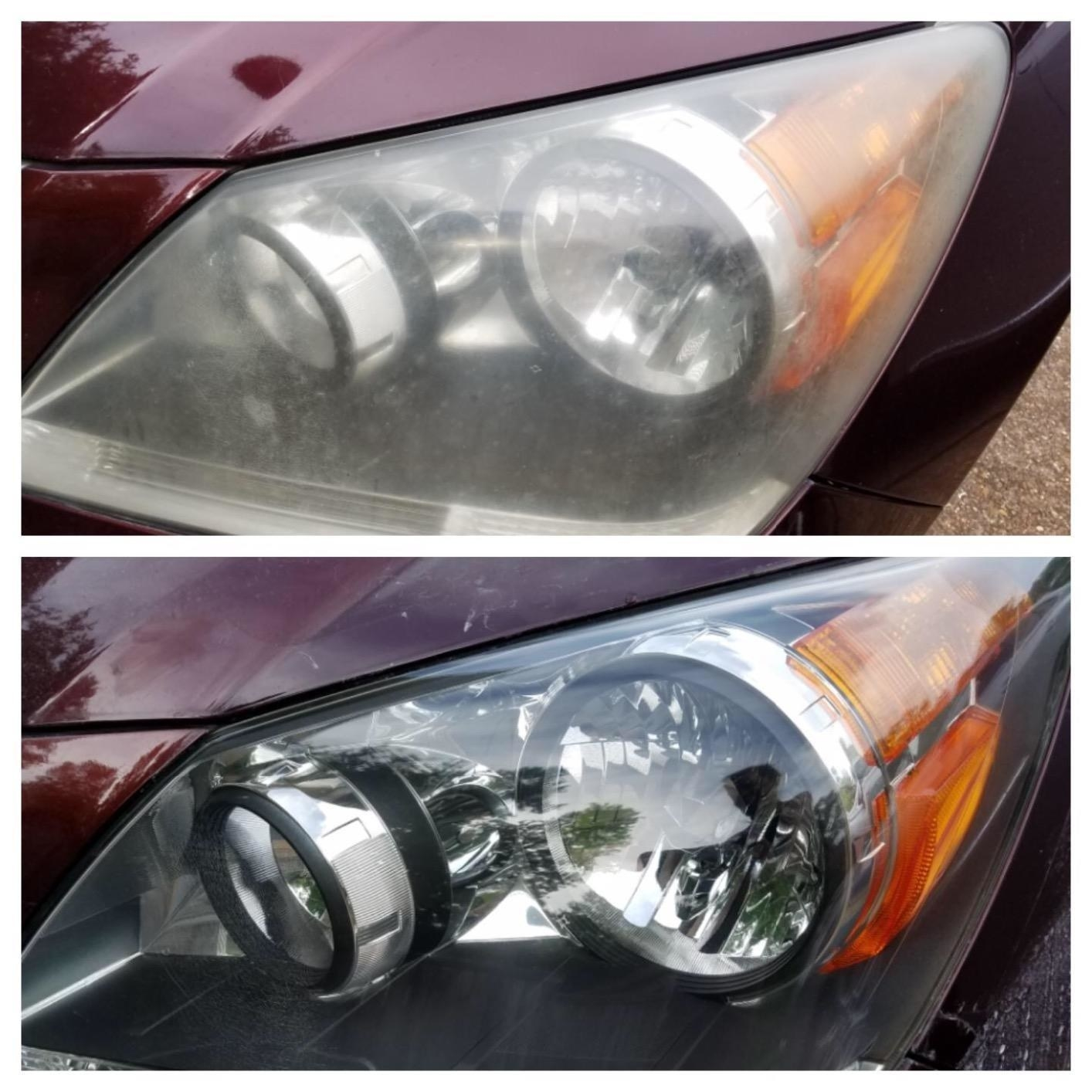 Before: A reviewer's headlights looking cloudy; After: the same headlights, now perfectly clear