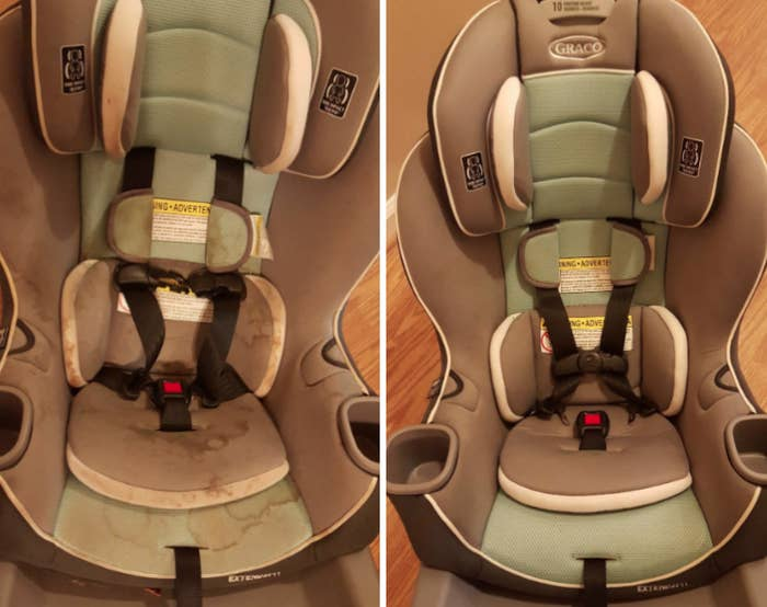 Reviewer's before-and-after image after using the detergent powder to remove stains from carseat